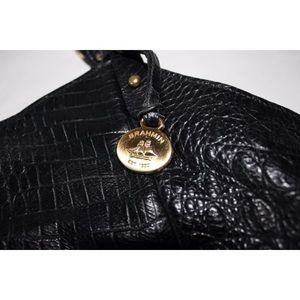 Brahmin Bags - Brahmin Black Leather Croc Embossed Shoulder Bag